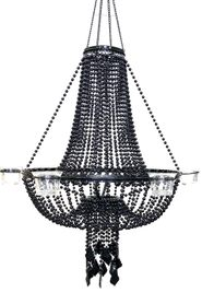 Candle Chandelier Empire Black Beaded Ball Chain - 6 Cup Candle Holder