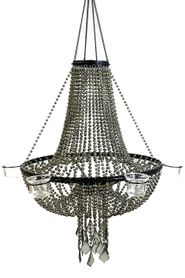 Candle Chandelier Empire Army Green Beaded Ball Chain - 6 Cup Candle Holder
