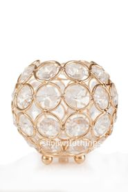 "Candle Holder - Beaded Real Glass Crystal - 3"" High x 4"" Diameter -  Round - Gold ""Madeline"""