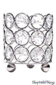 "Candle Holder - Cylinder Beaded Real Crystal - ""Prestige"" - Crystal Gem Votive - 3"" Silver - BUY MORE, SAVE MORE!"
