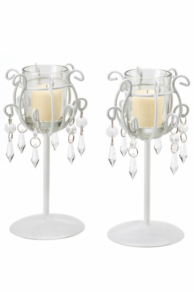"Candle Holder ""Debbie"" White Metal with Crystal Beads - Set of 2"
