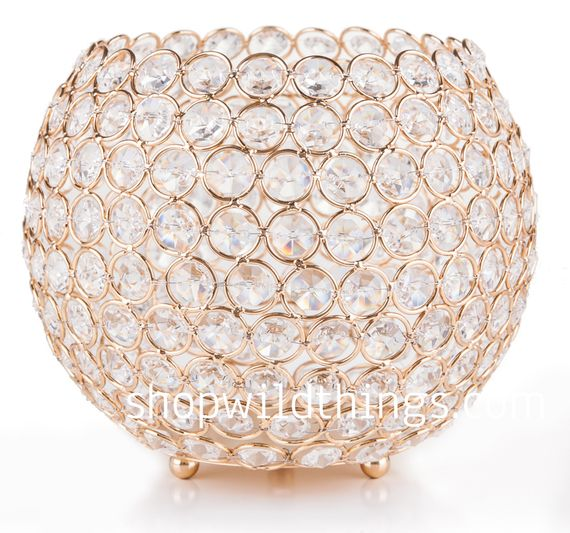 "CLEARANCE! Candle Holder - Real Beaded Crystal Ball Large - ""Prestige"" - 7"" Gold"