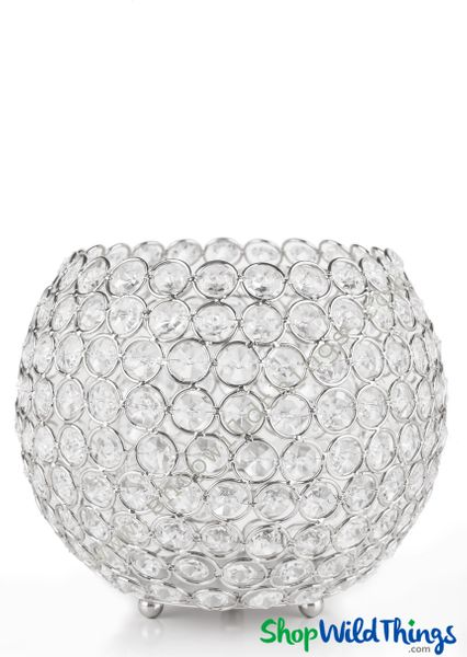 "Candle Holder - Real Beaded Crystal Ball Large - ""Prestige"" - 9 1/2"" Silver - BUY MORE, SAVE MORE!"