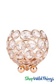 "Beaded Real Crystals Candle Holder Round Votive  ""Prestige""  3 1/4"" Gold - BUY MORE, SAVE MORE!"