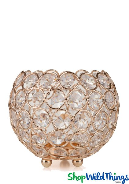 "Candle Holder - Round Beaded Real Crystal Votive - ""Prestige"" - 5"" Gold - BUY MORE, SAVE MORE!"