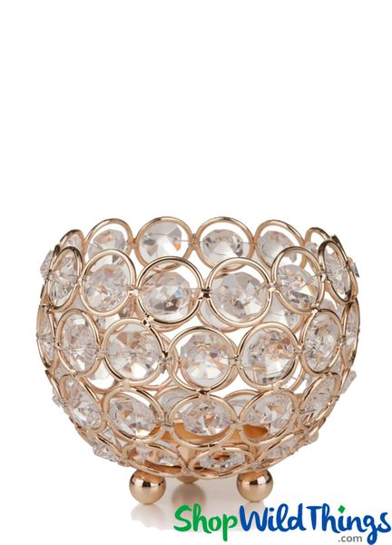 "Candle Holder - Round Real Beaded Crystal Votive - ""Prestige"" - 4"" Gold"