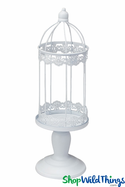 Candle Lantern - Round Lacy White - 17 3/4""