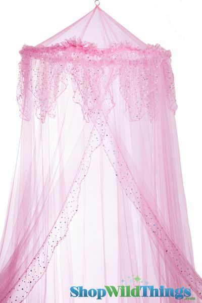 "Coming Soon - Canopy ""Evangeline"" Pink With Holographic Polka Dots Mosquito Net"