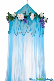 "SALE !  Canopy ""Fairytale"" Blue With Flower Garland Mosquito Net"