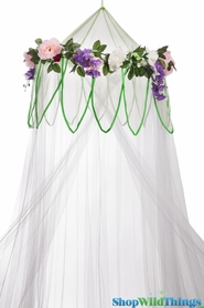 "SALE ! Canopy ""Fairytale"" White With Flower Garland Mosquito Net"