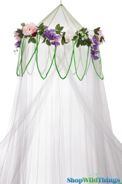"Canopy ""Fairytale"" White With Flower Garland Mosquito Net"