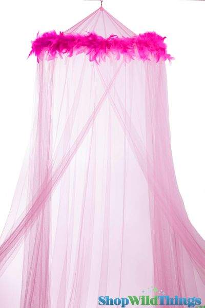 """SALE ! Canopy """"Mimi"""" Pink With Pink Feather Garland Mosquito Net"""