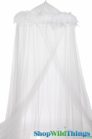 "SALE ! Canopy ""Mimi"" White With White Feather Garland Mosquito Net"
