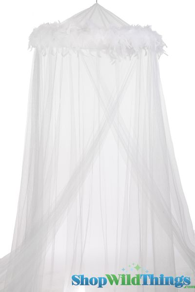 "Canopy ""Mimi"" White With White Feather Garland Mosquito Net"