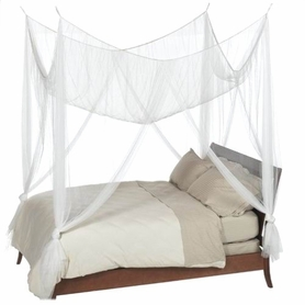 "Canopy- ""Zanzibar"" White Four Point Luxury Quality Mosquito Net"