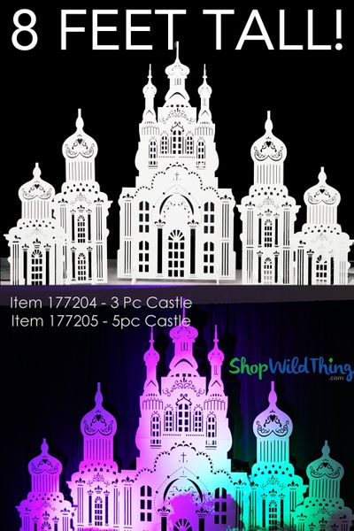 Castle Backdrop Laser Cut Prop 5 Pcs - White - Stores Flat