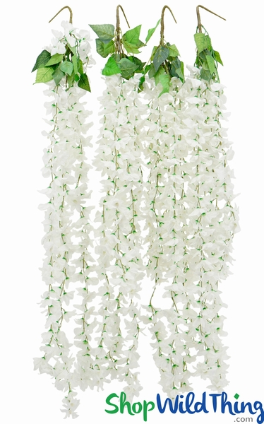"Cattleya Flower Bush Spray - 44"" - White (With 5 Assorted Length Garlands 25-39"")"