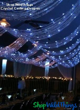 Ceiling Decor: Bead Curtains, Chandeliers, LED Lights