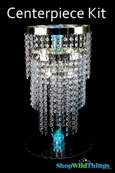 "Centerpiece Boost Kit - ""Whitney"" Clear Beaded Centerpiece on 20"" Riser"