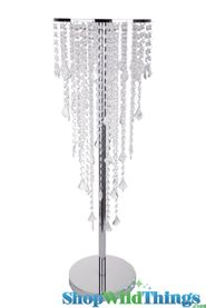 "5 Tier 36"" Crystal & Chrome Table Chandelier Centerpiece With Stand ""The Plaza"""