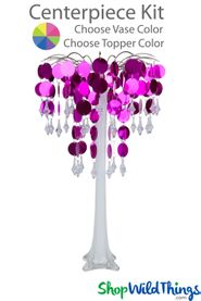 "Centerpiece Kit - Spangles & Crystals 21"" w/Glass Vase - 3 Vase & 2 Topper Color Options"