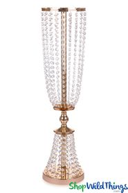 "Centerpiece Riser Swagged Gold & Real Crystals ""Avani"" 31 1/2"" Tall"