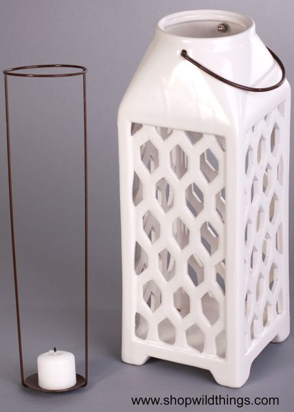 COMING SOON! CLEARANCE! Ceramic Candle Lantern - Large, White - Hanging or Table Top!