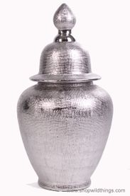 CLEARANCE! Ceramic Silver Covered Urn 24""