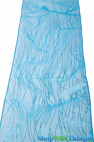 "Chair Bow / Table Runner 9"" x 10 ft - Turquoise Sparkle Stripe Organza - 6 Pc Set"
