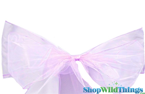 """SALE ! Chair Bow/Table Runner Fabric 9"""" x 10 ft - Sheer Lavender Organza -  6 Pc Set"""