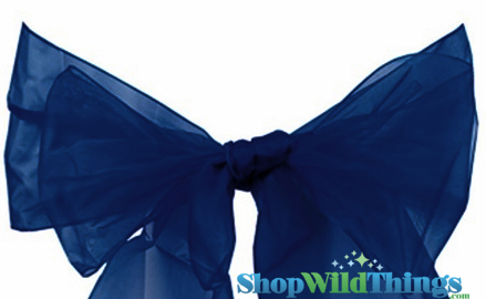 "SALE ! Chair Bow/Table Runner Fabric 9"" x 10 ft - Sheer Navy Blue Organza -  6 Pc Set"
