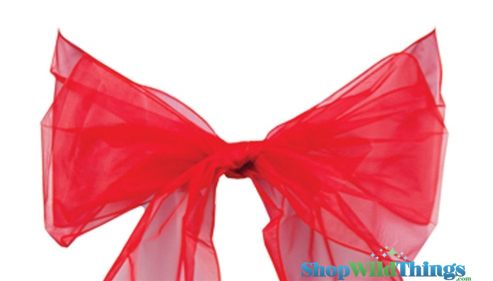 "SALE ! Chair Bow/Table Runner Fabric 9"" x 10 ft - Sheer Red Organza -  6 Pc Set"