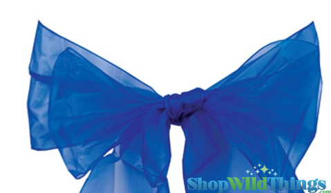"Chair Bow/Table Runner Fabric 9"" x 10 ft - Sheer Royal Blue Organza -  6 Pc Set"