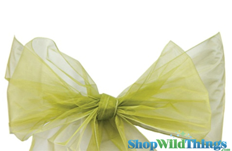 "Clearance - Chair Bow/Table Runner Fabric 9"" x 10 ft - Sheer Sage Green Organza -  6 Pc Set"