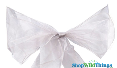 "Chair Bow/Table Runner Fabric 9"" x 10 ft - Sheer Silver Organza -  6 Pc Set"