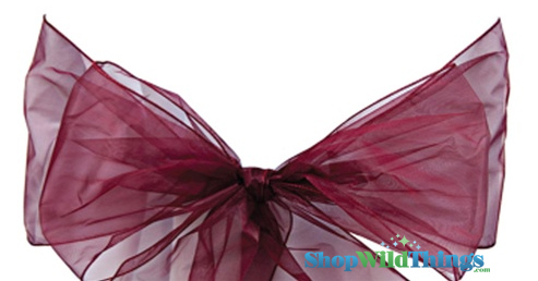 "COMING SOON! Clearance - Chair Bow/Table Runner Fabric 9"" x 10 ft - Sheer Wine/Burgundy Organza -  6 Pc Set"