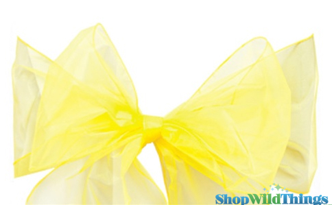 "SALE ! Chair Bow/Table Runner Fabric 9"" x 10 ft - Sheer Yellow Organza -  6 Pc Set"