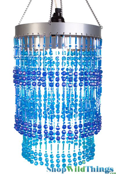 "Chandelier  ""Ashley""  2-Tier Hanging Lamp, Blue 8 1/2"" x 12"""