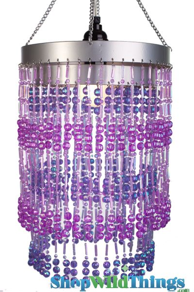 "Chandelier  ""Ashley""  2-Tier Hanging Lamp, Purple 8 1/2"" x 12"""