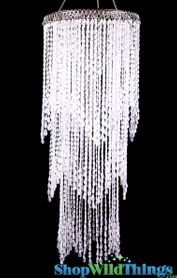 "Chandelier ""Avalon"" 26.5"" Tall Waterfall - Crystal - High Gloss Finish"