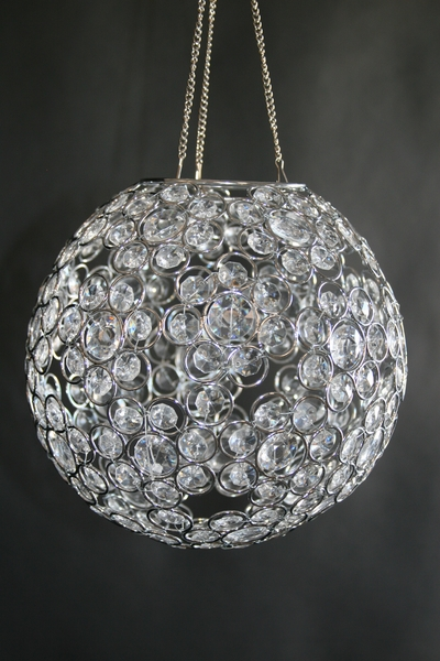 "Chandelier or Table Decor ""Ayanna"" - Crystal Beaded Sphere 9"" Diameter"