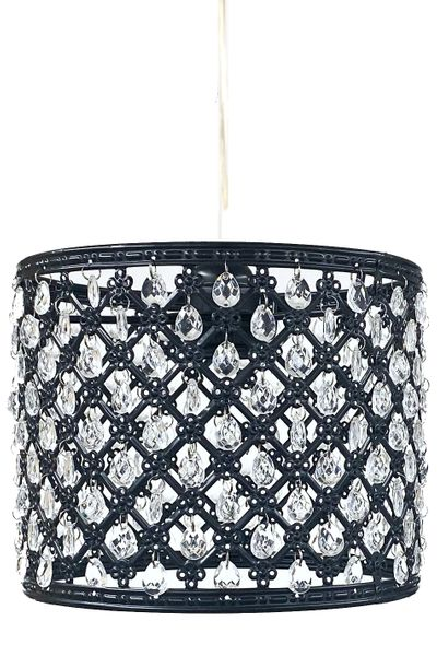 """Chandelier Black Drum with Crystal Beads & Light Kit 8"""" x 6.5"""""""