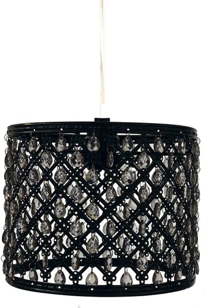 "Chandelier Black Drum with Smoke Gray Beads & Light Kit 8"" x 6.5"""