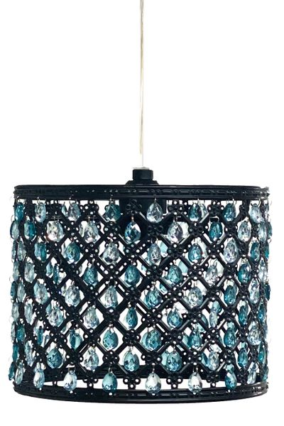"""Chandelier Black Drum with Teal/Cyan Beads & Light Kit 8"""" x 6.5"""""""