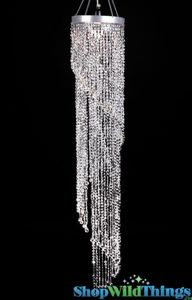Chandelier Chelsea Swirl Crystals - Silver - 4 ft