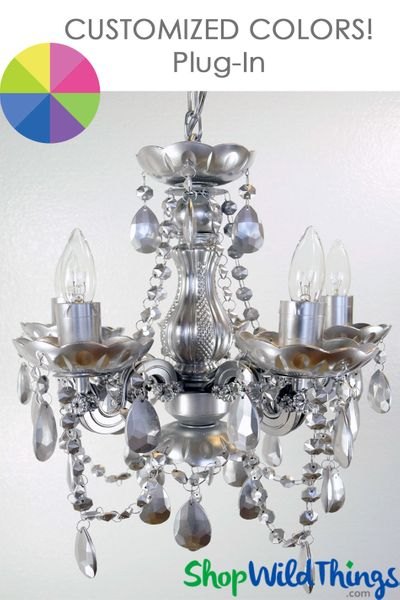 """COMING SOON! Chandelier Custom Color - Beaded Crystals - 15"""" x 15"""" - 5 Lights - With Plug"""