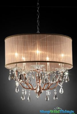 Copper Colored Chandelier With Crystals Hanging Rose