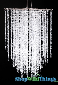 "Chandelier ""Falling Stars"" - Clear Non-Iridescent Beads -  21.5"" x 15"""