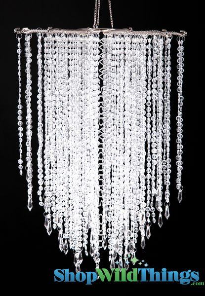 "COMING SOON! Chandelier ""Falling Stars"" - Clear Non-Iridescent Beads -  21.5"" x 15"""