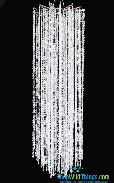 "Chandelier ""Falling Stars"" 48"" x 15"" - As Low As $54.99! - Clear Non-Iridescent Beads"